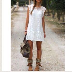 Dresses & Skirts - HOST PICK! Boho Sleeveless White Lace Mini Beach