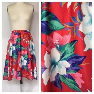 Vintage Hawaiian Floral Print Skirt