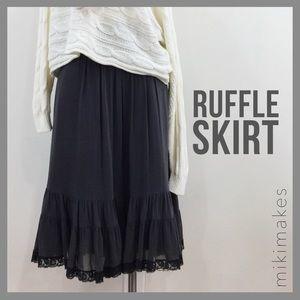 ZARA • NWT grey silk lace ruffle hem skirt