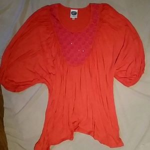 CLEARANCEDiane Gilman DG2 coral sequin top