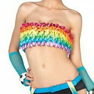 Leg Avenue  Tops - Satin Rainbow Ruffle Tube Top Rave Wear