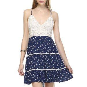 Bohemian Halter Dress, Tiered Skirt, Crochet Top