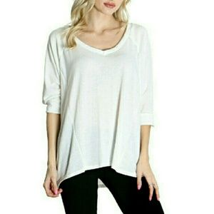 Hacci Blouse Loose Hi-lo Tunic