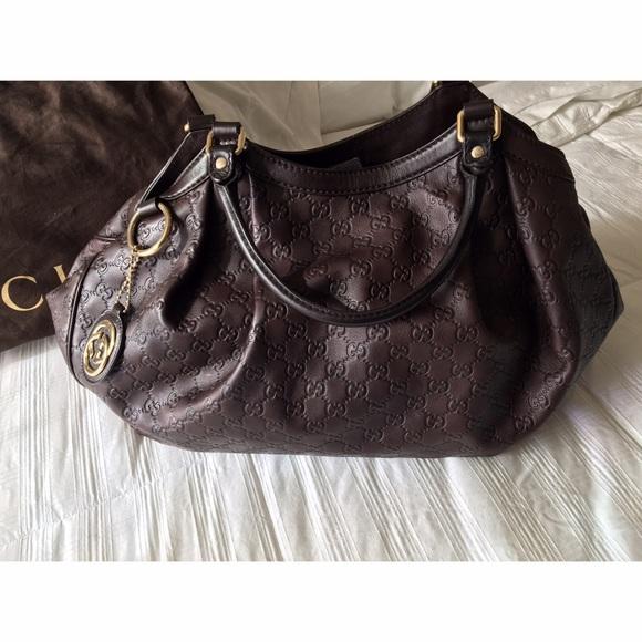 e77a6bb3e21b Gucci Handbags - Gucci Guccissima Large brown Sukey leather tote