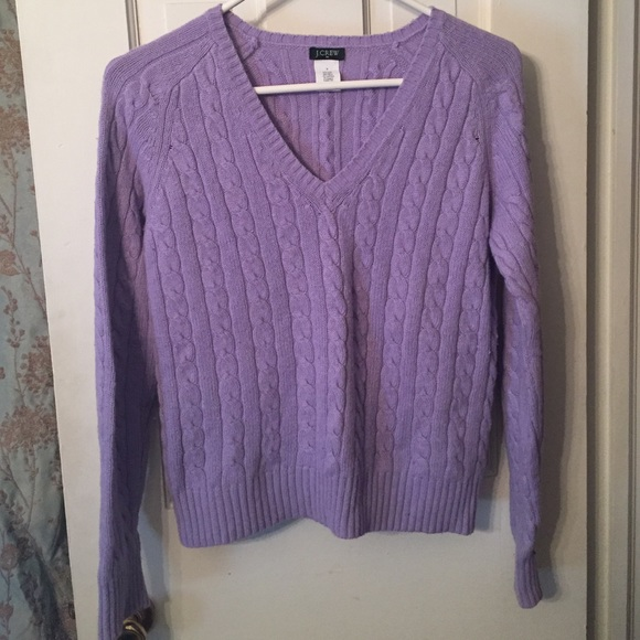 85% off J. Crew Sweaters - J crew cable knit Sweater light purple ...