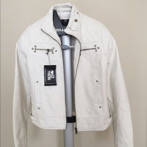 White faux leather jacket, S, NWT