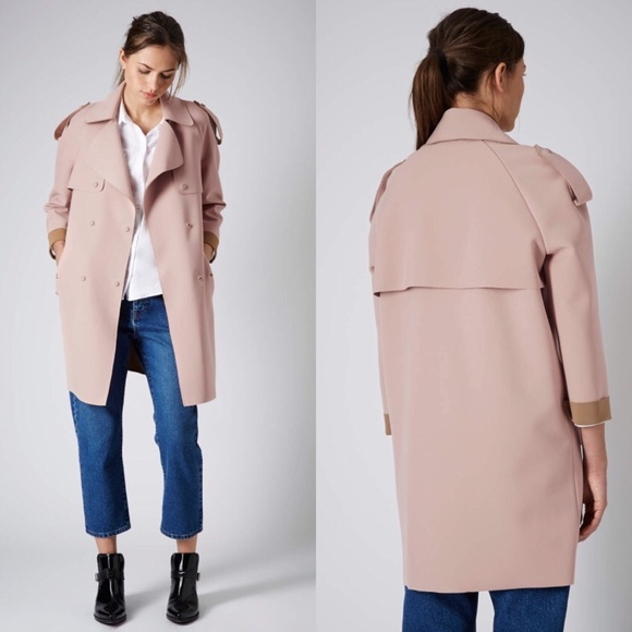 2b035132a7be Topshop pink bonded trench coat