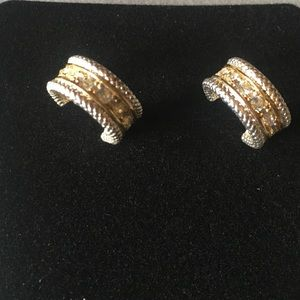 Silver and gold tone pierced earrings