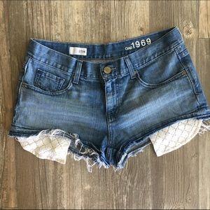 GAP Pants - Lace pocket jean shorts