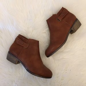 Shoes - Cognac Distressed Ankle Boots
