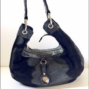 Black Suede & Leather Bag By Junior Drake