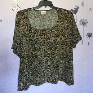 Fashion to Figure Tops - Plus Size Cheetah Print Square Neckline Top