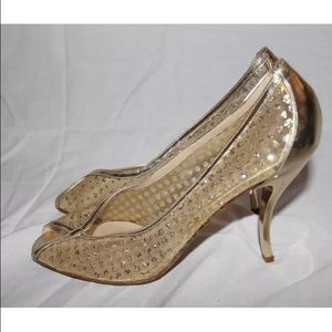 Delman Shoes - Delmans Gold Glitter 3 in Heels Sz 7
