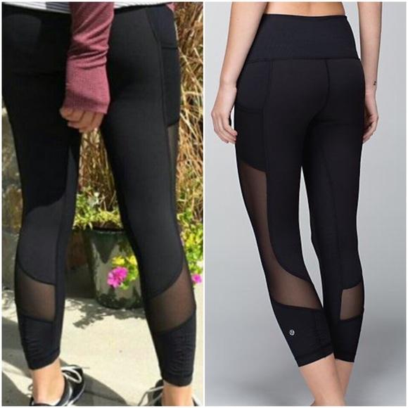 339daf5d63 lululemon athletica Pants | Lululemon Seek The Heat Crop Black Mesh ...