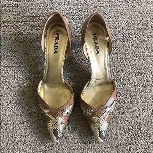 Prada Shoes - Authentic Prada snakeskin pattern leather pumps