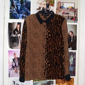 Tops - Brown Cheetah Print Collared Button-down Shirt Top