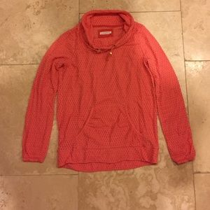Coral Cowl Neck Athletic Pullover