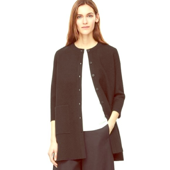 0541a454757f COS Sweaters   Black Textured Knit Cardigansweater Coat   Poshmark