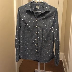 J Crew Polka Dot Dark Chambray Shirt