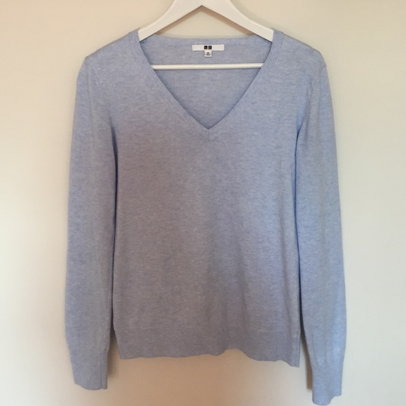 67% off Uniqlo Sweaters - Heather Blue Uniqlo cotton cashmere ...