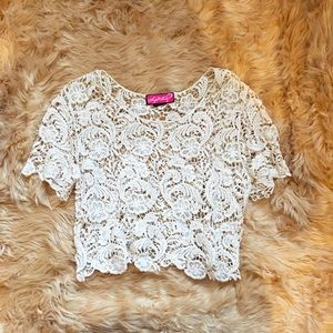 Crochet laced cropped top