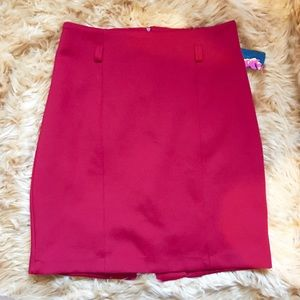 High waist red pencil skirt