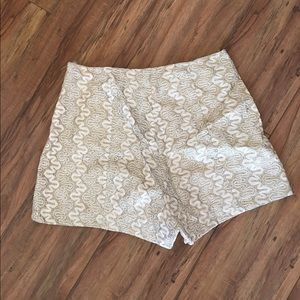 Cream Sequin High Waisted Shorts