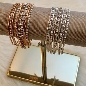 Rhinestone MultiChain Bracelet Rose Gold OR Silver