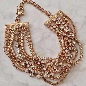 Rose Gold Rhinestone MultiChain Bracelet