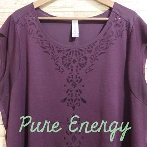 Pure Energy Tops - Pretty high-low Top w/ sheer design