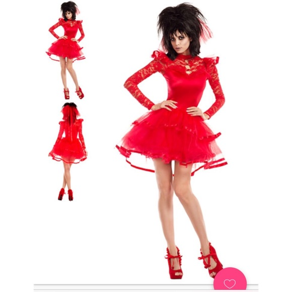 Yandy Other | Lydia Deetz Beetlejuice Red Wedding Dress W Vail ...