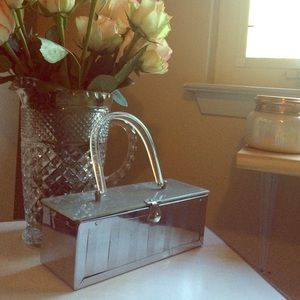 RARE  Mirror Metal Box Purse with Lucite