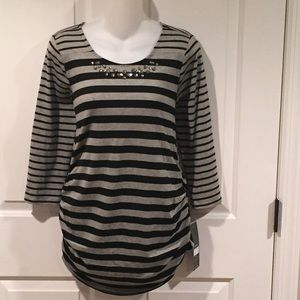 NWT black/gray striped maternity top size medium