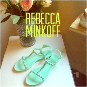 Mint green jelly sandals by Rebecca Minkoff