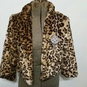 Vera Wang cheetah print fur coat