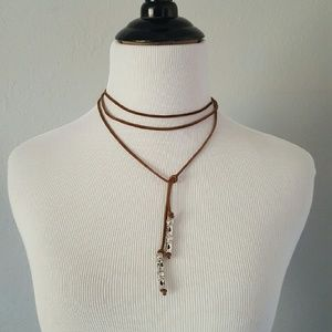 Jewelry - Brown suede choker wrap necklace
