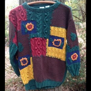 Vintage 80s/90s colorful embroidered sweater