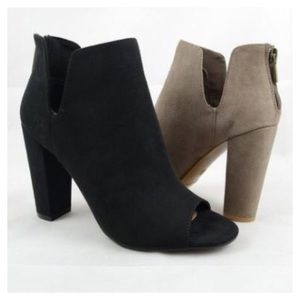 Shoes - Two Colors- Vegan Suede Ankle Bootie, Peep Toe