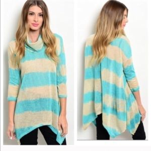 Tops - TEAL STRIPPED ASYMMETRICAL TUNiC