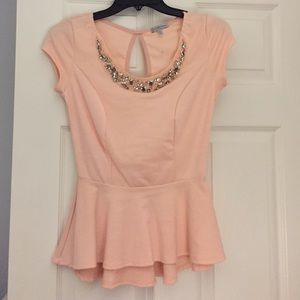 Peplum Peach/Pink Top