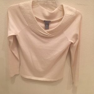 Ann Taylor Cream Sweater with Delicate Beads
