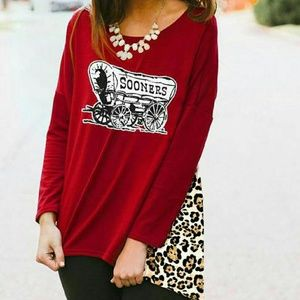 Tops - OU Leopard Tunic Piko Sleeve Top