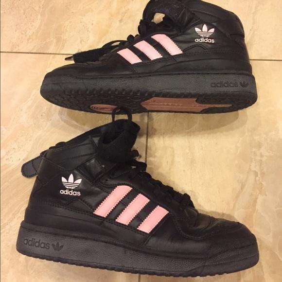 Adidas Mid Forum Hi Tops Pink And Black