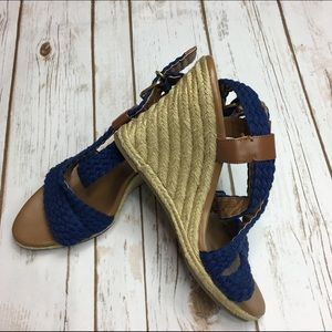 Banana Republic Shoes - BANANA REPUBLIC Navy and Brown Wedge Espadrilles