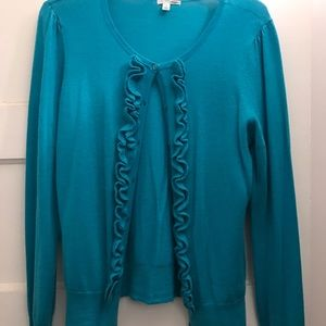 Halogen Turquoise Teal Cashmere Cardigan Sweater