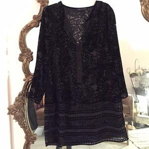 Zara Dresses & Skirts - Zara Woman Black Velvet Burnout and lace dress