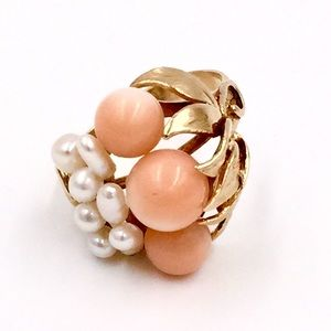 Jewelry - ☀️SALE☀️ 14k Rose Gold Ring {Coral & Seed pearls}