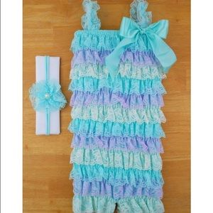 Other - SALE! Blue and Purple Lace Petti Romper
