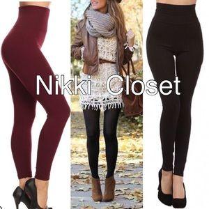 High waist leggings Pants - OS high waisted fleece lined leggings 8 colors