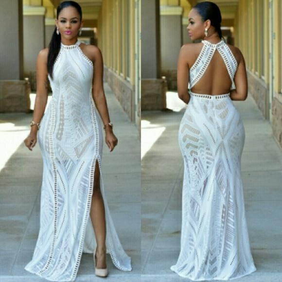 c8333b4c3c9 Beige Lace Nude Illusion Key-Hole Back Maxi Dress Boutique
